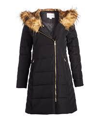 all gone black faux fur trim asymmetrical puffer coat