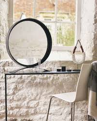 MirrorDeco  Free-Standing Table Top Mirror - Round Black Frame H:68cm