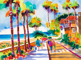 city of palms tropical watercolor painting watercolor paintings beach