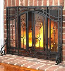 fireplace spark screen mesh curtains small two door fl fireplace screen with beveled glass panels and
