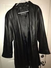 womens wilsons black 100 leather jacket size l large rn69426 trench coat nwot