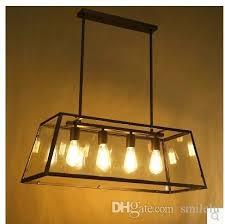 attic chandelier retro american industrial black iron glass rectangular chandelier light living room restaurant bar lights