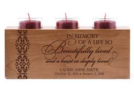 wood candle holder sympathy gift with end condolence message