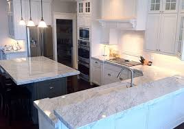 luxury white marble kitchen countertop and island