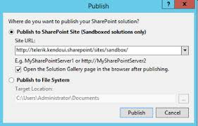 site collection s url in my case telerik kendoui sharepoint sites sandbox and the publish on we will now see the solution gallery