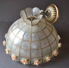 vintage mid century capiz shell ceiling light chandelier w natural shell flowers