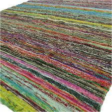 green boho bohemian decorative colorful woven chindi area rag rug 5 x 7 ft