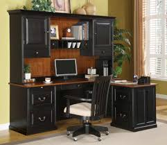 image of l shaped computer desk hutch