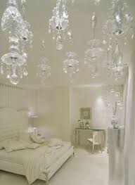white bedroom chandelier. Beautiful White Red Futuristic Modern Bedroom With White Curved Crystal Five Waxen  Chandelier And Wall Mounted Platform Square Bed Also  Intended