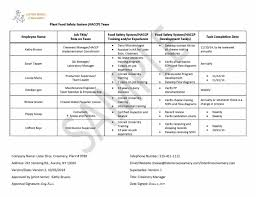 Haccp Plan Example Forms 11 My College Scout