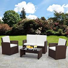 bella life rattan sofa garden furniture set patio conservatory brown