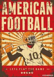 american football rugby sport retro pop art poster signage