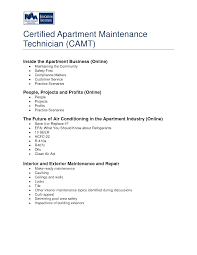 Apartment Maintenance Technician Resume Resume For Your Job