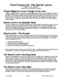 symbolism in the scarlet letter novels scarlet ap  scarlet letter final project options