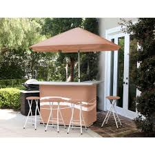 classic tan all weather patio bar set with 6 ft umbrella