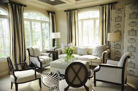 zebra skin rug living room traditional with area rug baseboards black coffered ceiling curtains