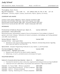Resumes Highol Resume For College Interview Example Application