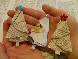 DIY Homemade Christmas Ornaments at BetterBudgeting: Rustic Vintage Paper  Christmas Trees made with old books
