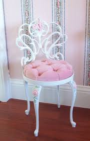 pink and white furniture. vintage white scrolly boudoir vanity chair stool with hand painted pink roses velvet seat cushion and furniture