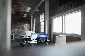 open floor office. Computer On Desk In Empty Loft Creative Open Plan Office Floor