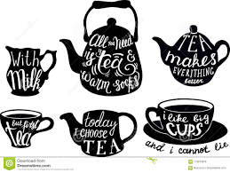 Vector Cute Tea Quotes And Sayings Typography Set Stock Vector
