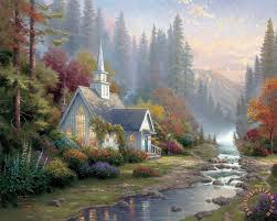 forest chapel painting thomas kinkade forest chapel art print
