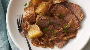 slow cooker beef roast with onions and