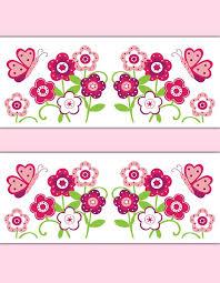 Flower Wall Paper Border Butterfly Garden Wallpaper Border Wall Art Decals Floral Girl Room