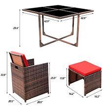 kaimeng 5 pieces patio dining sets