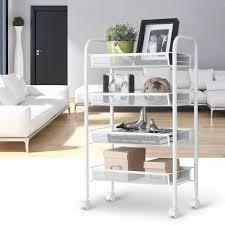 office trolley cart. LANGRIA 4 Tier Metal Mesh Rolling Cart Trolley Storage Holders Racks For Kitchen Pantry Office Bedroom Bathroom Washroom Laundry-in \u0026