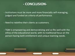 total quality management in education conclusion bull institutions