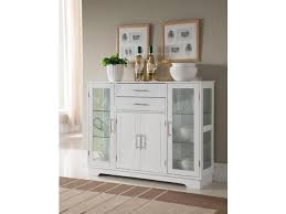 white wood kitchen buffet display cabinet with storage drawers glass doors