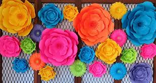 """Set of 22 Giant Paper Flowers, Neon Color 6-16"""" Wall Flowers,"""