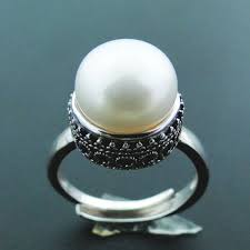 100% Real Natual Freshwater Pearl Ring, <b>Solid 925</b> Sterling Silver ...
