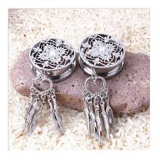 Dream Catcher Tunnels 100L Stainless Steel Dream Catcher Dangle Screw Ear Plug Gauge 79
