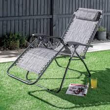 gravity garden recliner chair grey