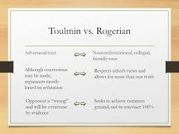 structuring  amp  analyzing arguments  the classical  toulmin    rogerian adversarial tonenonconfrontational  collegial  friendly tone although concessions   be made