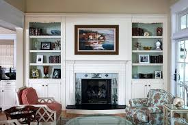 built in bookcase fireplace decorating ideas for bookcases by fireplace living room beach style with built