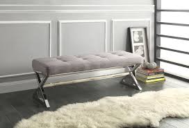 chrome bedroom furniture. Delighful Furniture Tufted X Leg Bench Grey Gray Chrome Metal Ottoman Seating Bedroom Furniture For Chrome Bedroom Furniture T