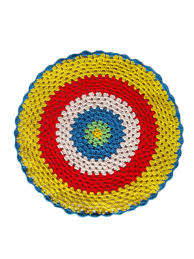 handmade colorful patchwork weaving round table mat