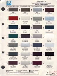 Nissan Paint Chart Color Reference