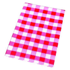 picture 1 of red vinyl tablecloth gingham round