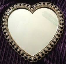 gold heart shaped mirror wall decor rhinestone border bling new look for hanging personalised heart shaped wall