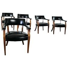 leather captains chair vintage walnut and black faux leather captain chairs with detail for leather