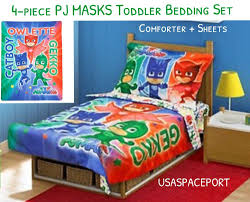 4 piece pj masks toddler bed comforter sheets set boys girls crib
