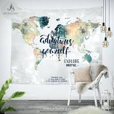 adventure wall tapestry world map watercolor hanging grunge wander tapestries bohemian decor old tap