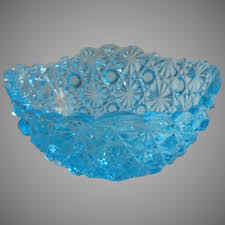 daisy and on blue glass bowl squared shape small vintage to mercy maude ruby lane