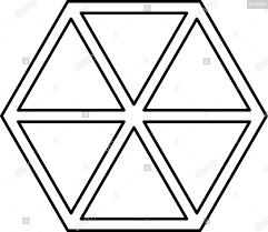 Abstract Cube Shape Hexagon Box Icon Black Color Outline Vector