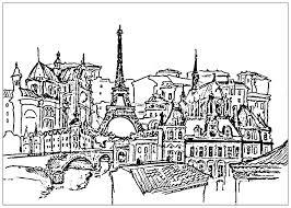 Paris France Tour Eiffel Et Immeubles Paris Coloriages