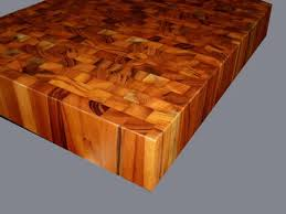 figured end grain wood countertop and chopping block